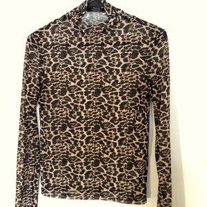 Bershka Brand Translucent Cheetah Top